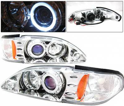 Headlights & Tail Lights - Headlights - 4 Car Option - Ford Mustang 4 Car Option Halo Projector Headlights Chrome - 1PC - LP-FM94CB-KS