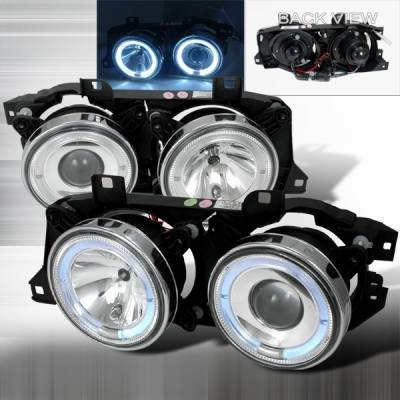 Headlights & Tail Lights - Headlights - Custom Disco - BMW 5 Series Custom Disco Halo Projector Headlights - LHP-E3488-YD