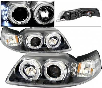 Headlights & Tail Lights - Headlights - 4 Car Option - Ford Mustang 4 Car Option Halo Projector Headlights - Black - LP-FM99BBR-5