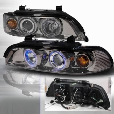 Headlights & Tail Lights - Headlights - Custom Disco - BMW 5 Series Custom Disco Black Halo Projector Headlights - LHP-E39R1G-KS