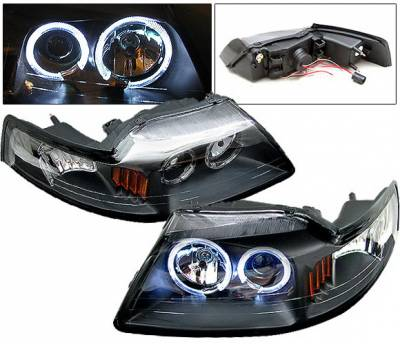 Headlights & Tail Lights - Headlights - 4 Car Option - Ford Mustang 4 Car Option Halo Projector Headlights - Black - LP-FM99BC-6