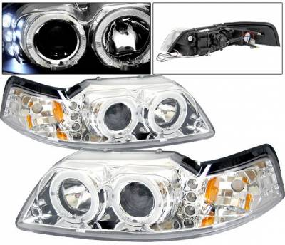 Headlights & Tail Lights - Headlights - 4 Car Option - Ford Mustang 4 Car Option Halo Projector Headlights - Chrome - LP-FM99CBR-5