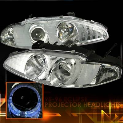 Headlights & Tail Lights - Headlights - Custom Disco - Mitsubishi Eclipse Custom Disco Clear Projector Headlights - LHP-ELP95-KS