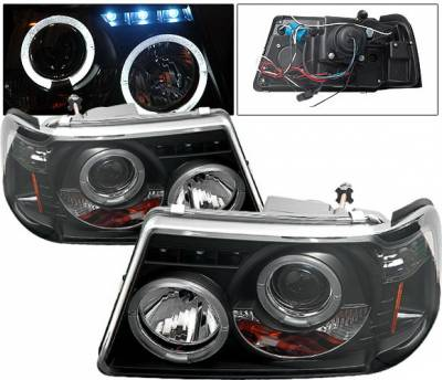 Headlights & Tail Lights - Headlights - 4 Car Option - Ford Ranger 4 Car Option Projector Headlights - Black - LP-FR01BC-YD