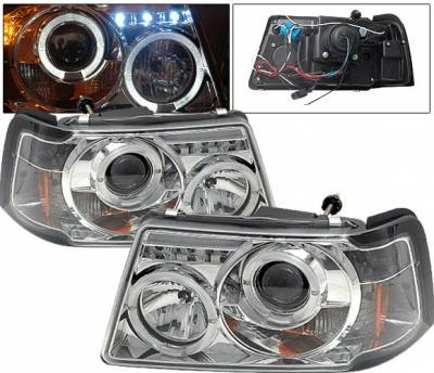 Headlights & Tail Lights - Headlights - 4 Car Option - Ford Ranger 4 Car Option Projector Headlights - Chrome - LP-FR01CC-YD