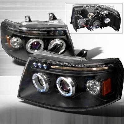 Headlights & Tail Lights - Headlights - Custom Disco - Ford Expedition Custom Disco Black Halo LED Projector Headlights - LHP-EPED03JMB-TM