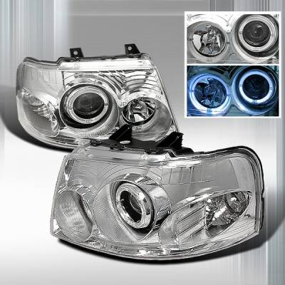 Headlights & Tail Lights - Headlights - Custom Disco - Ford Expedition Custom Disco Chrome Halo Projector Headlights - LHP-EPED03-KS