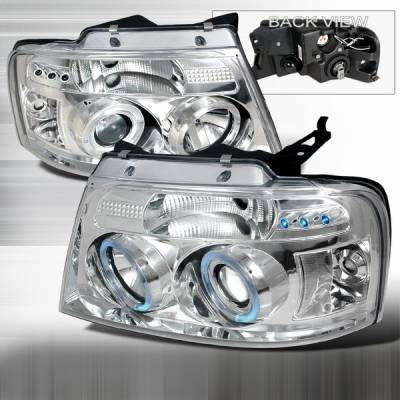 Headlights & Tail Lights - Headlights - Custom Disco - Ford F150 Custom Disco Clear Halo Projector Headlights - LHP-F15004