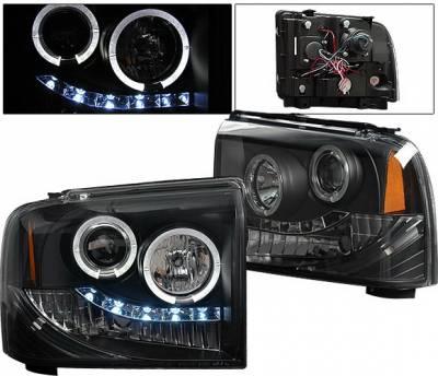 Headlights & Tail Lights - Headlights - 4 Car Option - Ford F350 4 Car Option Halo Projector Headlights - Black - LP-FS05BC-YD