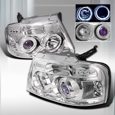 Headlights & Tail Lights - Headlights - Custom Disco - Ford F150 Custom Disco Clear Halo Projector Headlights - LHP-F15004B