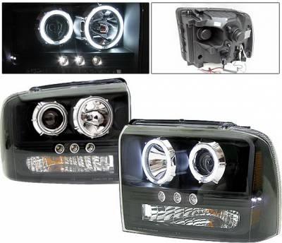 Headlights & Tail Lights - Headlights - 4 Car Option - Ford F350 4 Car Option Projector Headlights - Black CCFL - LP-FS05BF-KS