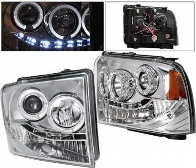 Headlights & Tail Lights - Headlights - 4 Car Option - Ford F250 4 Car Option Halo Projector Headlights - Chrome - LP-FS05CC-YD