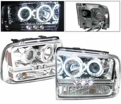 Headlights & Tail Lights - Headlights - 4 Car Option - Ford F250 4 Car Option CCFL Projector Headlights - Chrome - LP-FS05CF-KS