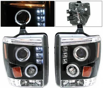 Headlights & Tail Lights - Headlights - 4 Car Option - Ford F250 4 Car Option Halo LED Projector Headlights - Black - LP-FS08BC-YD