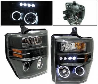Headlights & Tail Lights - Headlights - 4 Car Option - Ford Superduty 4 Car Option Halo Projector Headlights - Black CCFL - LP-FS08BF-KS