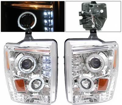 Headlights & Tail Lights - Headlights - 4 Car Option - Ford F250 4 Car Option Halo LED Projector Headlights - Chrome - LP-FS08CC-YD