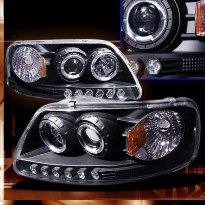 Headlights & Tail Lights - Headlights - Custom - Ford F150 Custom Disco Black Projector Headlights - LHP-F15097JM