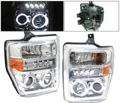 Headlights & Tail Lights - Headlights - 4 Car Option - Ford Superduty 4 Car Option Halo Projector Headlights - Chrome CCFL - LP-FS08CF-KS