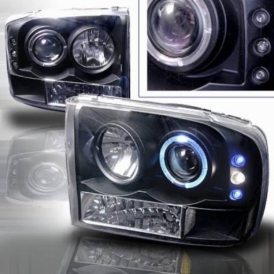 Headlights & Tail Lights - Headlights - Custom Disco - Ford F250 Custom Disco Projector Headlight - LED - LHP-F25099JM-YD