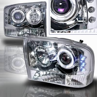 Headlights & Tail Lights - Headlights - Custom Disco - Ford F250 Custom Disco Projector Headlight - LED - LHP-F25099-YD