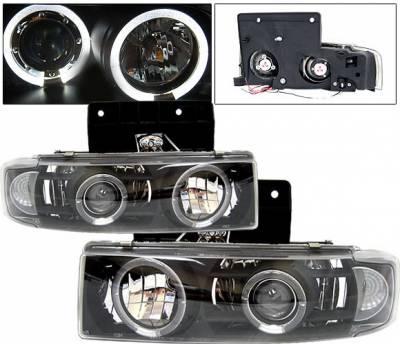 Headlights & Tail Lights - Headlights - 4 Car Option - GMC Safari 4 Car Option Halo Projector Headlights - Black & Clear - LP-GA85BC-YD