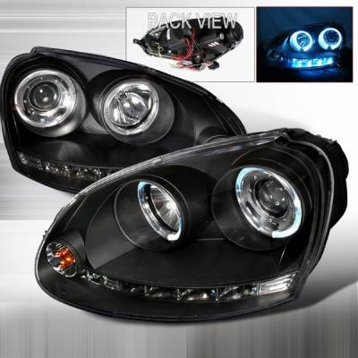Headlights & Tail Lights - Headlights - Custom Disco - Volkswagen Jetta Custom Disco Black Halo LED Projector Headlights - LHP-GLF06JM-YD