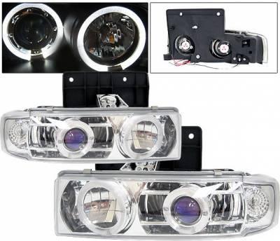 Headlights & Tail Lights - Headlights - 4 Car Option - GMC Safari 4 Car Option Halo Projector Headlights - Chrome & Blue - LP-GA85CB-YD