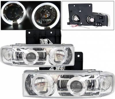 Headlights & Tail Lights - Headlights - 4 Car Option - GMC Safari 4 Car Option Halo Projector Headlights - Chrome & Clear - LP-GA85CC-YD