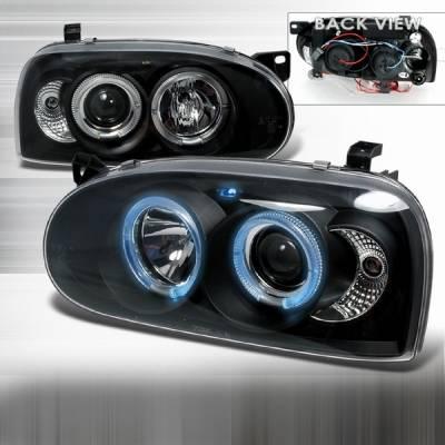 Headlights & Tail Lights - Headlights - Custom Disco - Volkswagen Golf Custom Disco Black Projector Headlights - LHP-GLF92JM