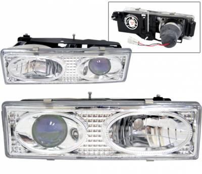 Headlights & Tail Lights - Headlights - 4 Car Option - Chevrolet C10 4 Car Option Projector Headlights - Chrome & Blue - V2 - LP-GC88V2CB-YD