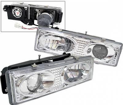 Headlights & Tail Lights - Headlights - 4 Car Option - Chevrolet C10 4 Car Option Projector Headlights - Chrome & Clear - V2 - LP-GC88V2CC-YD