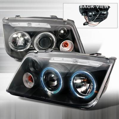 Headlights & Tail Lights - Headlights - Custom Disco - Volkswagen Jetta Custom Disco Black & Clear Halo Projector Headlights - LHP-JET99JM-YD