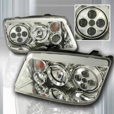 Headlights & Tail Lights - Headlights - Custom Disco - Volkswagen Jetta Custom Disco Chrome Projector Headlights - LHP-JET99-OR