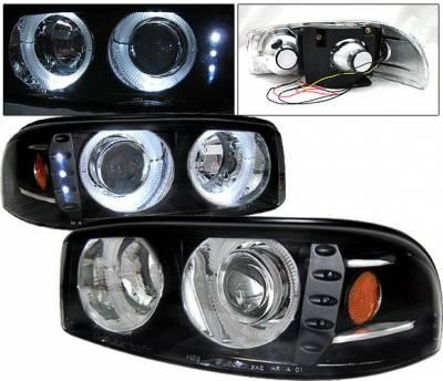 Headlights & Tail Lights - Headlights - 4 Car Option - GMC Denali 4 Car Option Dual Halo Projector Headlights - Black - LP-GD01BC-1
