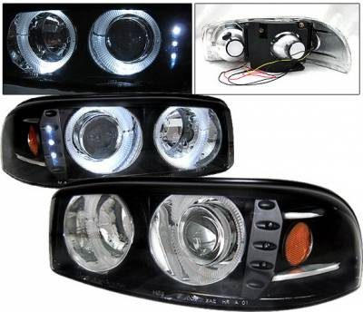 Headlights & Tail Lights - Headlights - 4 Car Option - GMC Yukon 4 Car Option Dual Halo Projector Headlights - Black - LP-GD01BC-1