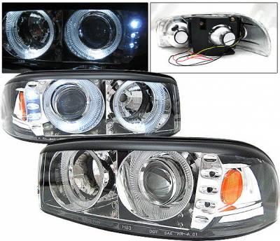 Headlights & Tail Lights - Headlights - 4 Car Option - GMC Denali 4 Car Option Dual Halo Projector Headlights - Chrome - LP-GD01CC-1