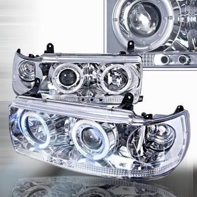Headlights & Tail Lights - Headlights - Custom Disco - Toyota Land Cruiser Custom Disco Clear Projector Headlights - LHP-LCR90-YD