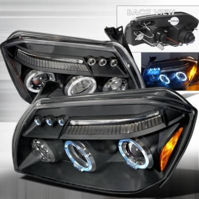 Headlights & Tail Lights - Headlights - Custom Disco - Dodge Magnum Custom Disco Black Halo Projector Headlights - LHP-MAG05JM-TM