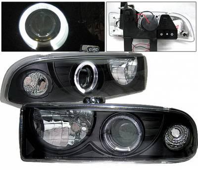 Headlights & Tail Lights - Headlights - 4 Car Option - Chevrolet S10 4 Car Option Halo Projector Headlights - Black - LP-GS98BC-YD