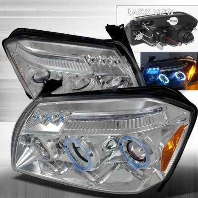 Headlights & Tail Lights - Headlights - Custom Disco - Dodge Magnum Custom Disco Chrome Halo Projector Headlights - LHP-MAG05-TM