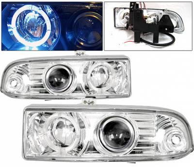 Headlights & Tail Lights - Headlights - 4 Car Option - Chevrolet S10 4 Car Option Halo Projector Headlights - Chrome - LP-GS98CB-KS