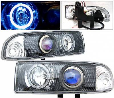 Headlights & Tail Lights - Headlights - 4 Car Option - Chevrolet S10 4 Car Option Halo Projector Headlights - Carbon Fiber - LP-GS98CF-KS