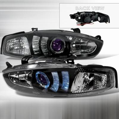 Headlights & Tail Lights - Headlights - Custom Disco - Mitsubishi Mirage 2DR Custom Disco Black Halo Projector Headlights - LHP-MRG972JMB-TM