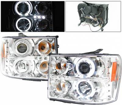 Headlights & Tail Lights - Headlights - 4 Car Option - GMC Sierra 4 Car Option Halo Projector Headlights - Chrome CCFL - LP-GSIE07CF-KS
