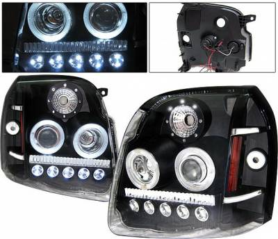Headlights & Tail Lights - Headlights - 4 Car Option - GMC Denali 4 Car Option LED Halo Projector Headlights - Black - LP-GY07BC-1-A