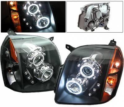 Headlights & Tail Lights - Headlights - 4 Car Option - GMC Yukon 4 Car Option CCFL Halo Projector Headlights - Black - LP-GY07BF-KS