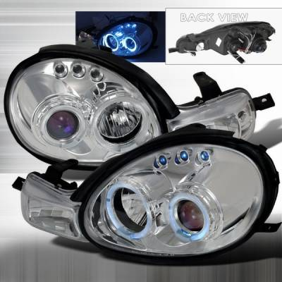 Headlights & Tail Lights - Headlights - Custom Disco - Dodge Neon Custom Disco Chrome LED Halo Projector Headlights & Parking Lights - LHP-NEO00B-TM