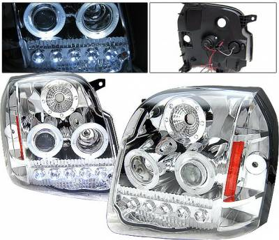 Headlights & Tail Lights - Headlights - 4 Car Option - GMC Yukon 4 Car Option LED Halo Projector Headlights - Chrome - LP-GY07CC-1-A