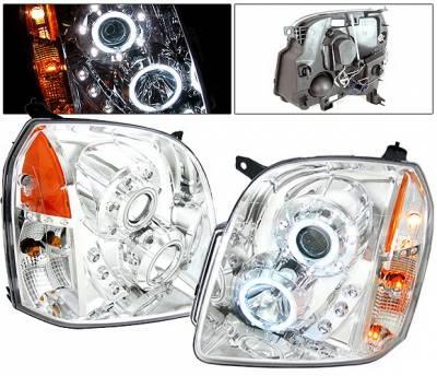 Headlights & Tail Lights - Headlights - 4 Car Option - GMC Denali 4 Car Option CCFL Halo Projector Headlights - Chrome - LP-GY07CF-KS