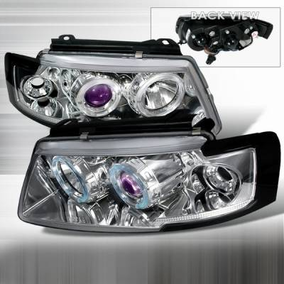 Headlights & Tail Lights - Headlights - Custom Disco - Volkswagen Passat Custom Disco Clear Projector Headlights - LHP-PAS97B-YD